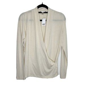 Banana Republic Large Top Long Sleeve Wrap Front